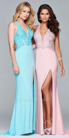 Multi Strap Rhinestone Embellished Fit and Flare Prom Dress by Faviana. These pastel prom dresses are a fashionista's dream! #edressme