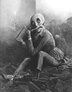 beksinski  black & white image of a painting