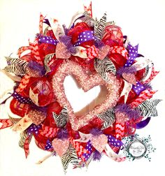 Valentine Day Pink Heart Deco Mesh Wreath by WreathsEtcbyLisa on Etsy