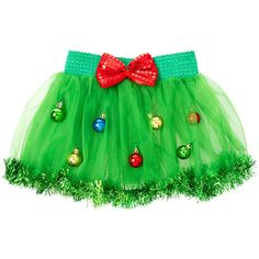 Holiday Ornaments Tutu with Light Up Sequin Bow ($35) ❤ liked on Polyvore featuring home, home decor, holiday decorations, green ornaments, holiday home decor, bow ornament and holiday ornaments