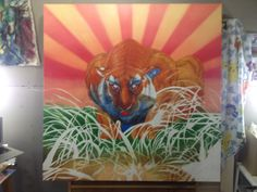 "Oil painting process shots | ""Hunger, Hunt"" | 48"" x 48"" | ""David F. Starr"" | 2013"
