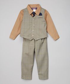 Loving this Tan Plaid Four-Piece Vest Set - Infant & Toddler on #zulily! #zulilyfinds
