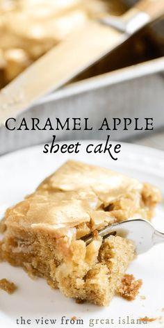 Apple Sheet Cake Recipe, Sheet Cake Recipes, Apple Cake Recipes, Apple Desserts, Frosting Recipes, Easy Desserts, Baking Recipes, Delicious Desserts, Dessert Recipes