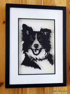 Papercut Art, Paper Cut Border Collie, Personalised Pet Lovers Papercutting, Border Collie Puppy Portrait, Paper Cutting Border Collie Art