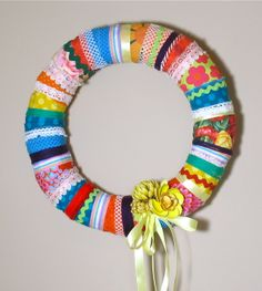 Easy Ribbon Crafts | easy diy fabric wreath make your own simple scrap fabric and ribbon ...