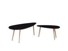 "Lot de 2 tables basses ""Billy"" en MDF laqué - Noir 70093 70095"