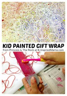 This color scheme is a no-go for me; but the basics of the technique look fun: Creative Gift Wrapping Paper Painted by the Kids - B-Inspired Mama