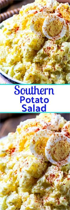 Southern Potato Salad is super creamy with a blend of mayonnaise and mustard, hard-boiled eggs, sweet onion, sweet pickle relish, and celery. It is a potluck must and the only recipe for potato salad you need! Southern Potato Salad, Southern Dishes, Healthy Southern Recipes, Southern Coleslaw, Simple Recipes, Southern Meals, Southern Kitchens, Southern Comfort, Light Recipes
