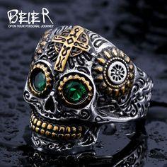 Beier pierścień ze stali nierdzewnej 316l skull biker mężczyźni pierścień hot sprzedaż człowieka biżuteria br8-327