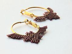 Halloween bat earrings  beaded jewelry  spooky by LaGansaHandiwork