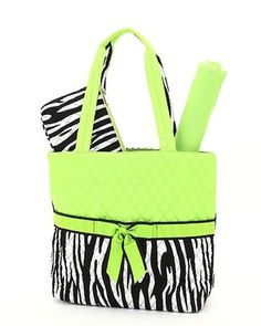 green 3 piece diaper bag, can be monogrammed