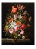 Still Life of Roses, Lilies, Tulips and Other Flowers in a Glass Vase with a Brindled Beauty Outro por Rachel Ruysch