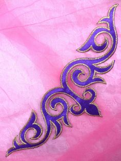 Embroidered Applique Purple Gold Metallic Iron On Designer Patch Measures: 9.5 x 3.25 Use for any of your craft projects. Iron on, sew on or glue on.  Blessings from Glorys House! :)  If you need more than what is listed please let us know and we will add more inventory.