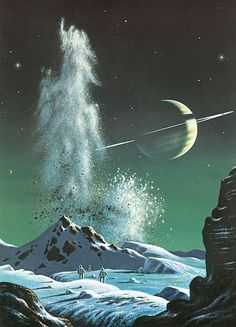 """Painting Space: Then and Now Title: """"Saturn from Titan by David A. Hardy (1972, gouache)"""" Caption: """"Saturn's largest moon was known to have an atmosphere, so in his famous painting Bonestell showed it with a blue sky. Knowing that this was composed largely of methane, Hardy asked scientists at Birmingham University what colour this would appear in bulk; hence he painted it as greenish. A team of astronauts has set off a seismic experiment to discover what lies under the icy surface."""