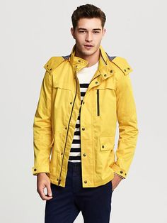 Classic and fun, men's yellow jacket! #BananaRepublic #sailing #style