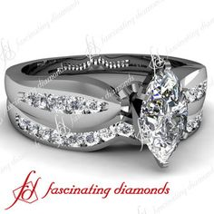 Marquise Cut Diamond Engagement Wedding Rings Set With Round Diamonds In Channel Setting; I have never been big on this cut but I really like it in this setting Wedding Ring Sets Unique, Beautiful Wedding Rings, Wedding Ring Designs, Engagement Wedding Ring Sets, Wedding Styles, Dream Wedding, Wedding Ideas, Wedding Anniversary Rings, 25th Anniversary