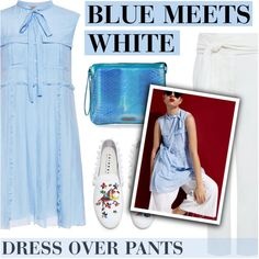 BLUE MEETS WHITE by ifchic on Polyvore featuring N°21, IRO, Joshua's, Mohzy and contemporary