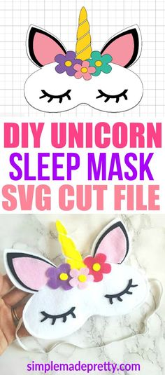 This DIY Unicorn sleep mask is perfect for unicorn Birthday parties, favors or a girl's sleepover party. This felt craft idea used a Cricut Maker Machine to cut the felt and sew together. This is a great beginner sewer or beginner cricut. It can also be used for a unicorn costume with matching unicorn pajamas! via @SMPblog