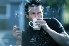 Rammstein - Richard Kruspe Cigarette, tinto and a HOT man!!  All I need!!