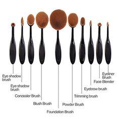 10 Piece Oval Makeup Brush Set - Eyebrow, Foundation Cream, Powder, Blush Makeup Tools