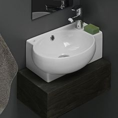 CeraStyle By Nameek's Mini Small Corner Ceramic Wall Mounted or Vessel Sink Wall Mounted Bathroom Sinks, Wall Mounted Tv, Corner Sink Bathroom Small, Corner Basin, Corner Vanity, Bathroom Shop, Small Sink, Bathroom Showers, Downstairs Bathroom