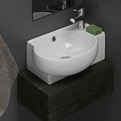 Bathroom Sink, CeraStyle 001300-U, Curved Corner White Ceramic Wall Mounted or Self-Rimming Sink 001300-U