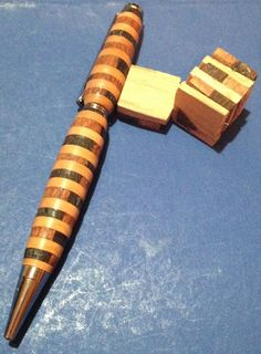 Handmade Wooden Slimline Pen Segmented Wenge by agoodfinddepot