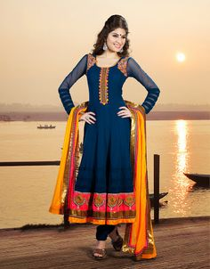 Marvelous Steel Blue Salwar Kameez | StylishKart.com