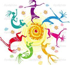 Figuras de color bailando en un círculo