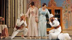 San Francisco Opera - Così fan tutte with Philippe Sly (Guglielmo), Christel Lötzsch (Dorabella), Ellie Dehn (Fiordiligi) and Francesco Demuro (Ferrando). Photo by Cory Weaver.