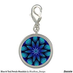 Blue & Teal Petals Mandala Charm Photo Charms, Memorable Gifts, Teal, Blue, Pocket Watch, Colorful Backgrounds, How To Memorize Things, Mandala, Perfume