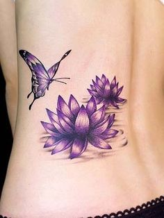 Cute Purple Lotus Flower Design With Butterfly Tattoo Ideas ...