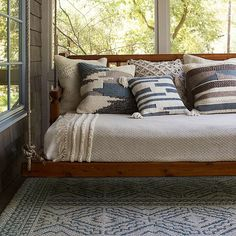 Enhance your indoor/outdoor living space with a distinctive look with the Warwick Rug from Magnolia Home by Joanna Gaines. Perfect for the porch or patio, this decorative rug is inspired by tribal mud cloths and is UV, mold and mildew resistant. Casa Magnolia, Magnolia Homes, Sunroom Decorating, Enclosed Porch Decorating, Small Enclosed Porch, Decorating Ideas, Screen Porch Decorating, Interior Decorating, Gardens