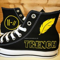 Black high top converse trainers hand painted with a twenty one pilots trench design Twenty One Pilots Merch, Twenty One Pilot Memes, Twenty One Pilots Clothing, Painted Converse, Painted Shoes, Painted Sneakers, Converse Trainers, Converse Shoes, Emo Shoes