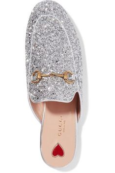 Gucci - Princetown Horsebit-detailed Glittered Leather Slippers - Silver