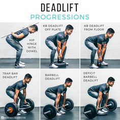 TRY THESE 6 DEADLIFT PROGRESSIONS! here with 6 deadlift progressions! These aren't just 6 random variations, but rather the way that progress deadlifts. Each individual is different some some folks may skip a progression or two, or spend a longer amount of time patterning the hip hinge in different ways, but this should give you some good insight into how we do things in order to help people deadlift safely and effectively! hope these dead lift progressions help you out!