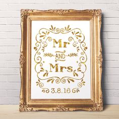 Mr and Mrs Wedding Art to Print - Gift for Newly Weds - Bridal Shower Gift - Personalized Wedding Gift - Mr and Mrs Sign - Customized Gift by ratitaprints on Etsy