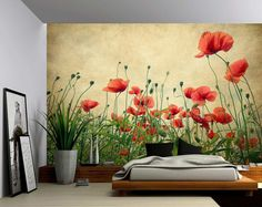 Red Poppies – Large Wall Mural, Self-adhesive Vinyl Wallpaper, Peel & Stick fabric wall decal Red Poppies – Großes Fototapete, … Large Wall Murals, Mural Wall Art, Mural Painting, Wall Decals, Wall Sticker, Paintings, Garden Mural, Vinyl Wallpaper, Adhesive Wallpaper