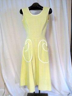 Vtg 50s Pale Lime Cotton Full Skirt Back Wrap Sundress w/Fab Pockets, GC B36
