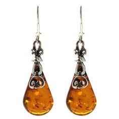 Amber Sterling Silver Antiqued Large Drop Earrings *** Check this awesome product by going to the link at the image.