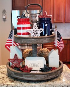Patriotic Tiered Tray Decor for the of July! Tiered Tray Inspo + Rustic Trays + Galvanized Trays + Tiered Tray Decor + Tiered Tray Decorations + Fourth of July Decorations + Red, White and Blue + Patriotic Decor + Patriotic Decorations Fourth Of July Decor, 4th Of July Decorations, July 4th, Minis, Galvanized Tray, Kitchen Tray, Tray Styling, Tiered Stand, July Crafts