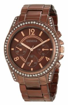 Geneva Moderate Women's AMZ1024 Boyfriend Triple Brown Faux Multi-Function Link Bracelet Watch Geneva Moderate. $24.00. Reliable Japanese quartz analog movement with sweeping second hand. Solid all alloy metal case construction with brass pushers and stainless steel case back. Durable mineral crystal protects watch from scratches and a limited lifetime warranty!. Brown faux multi-function 3 sub-eye dial with stone detailed bezel. Brown tone all alloy metal link meta...