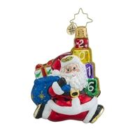 Christopher Radko Jolly Leaping Dated 2016 Little Gem Santa Christmas Ornament