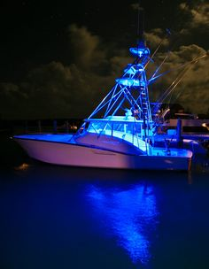 Blue waterproof LED flexible light strips on a boat create this awesome effect!