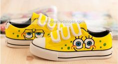 Spongebob Painted Shoes, for baby Hunter! Diy Converse, Painted Converse, Painted Canvas Shoes, Custom Painted Shoes, Custom Shoes, Converse Shoes, Kid Shoes, Girls Shoes, Me Too Shoes