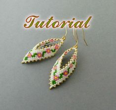 PDF Beaded Earrings Tutorial, Seed Bead Earrings, Beadwork Tutorial, Seed Bead Earrings Tutorial, Russian Leaf Earrings, Beading pattern, Earrings Peyote Pattern   This tutorial will show you step by step how to make this earrings. This is a very detailed tutorial, it contains 23 pics with descriptions to them and takes 16 pages. Tutorial in English.   Level - intermediate.  Material you need: Miyuki Delica 11/0 DB351- 2gr b1 Miyuki Delica 11/0 DB2037 - 1gr b2 Miyuki Delica 11/0 DB754- 1gr…