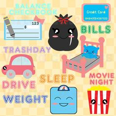 Weekly Planner Clipart, To Do List, Checkbook, Credit Card, Scale, Movie, Trash, Bed, Cute Clipart, Kawaii, Free Commercial and Personal Use