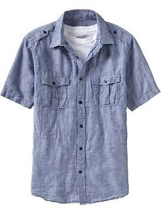 Men's Military-Style Linen Shirts | Old Navy