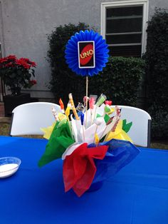 My sons First Birthday centerpieces. UNO Theme.