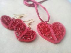 Heart shaped quilled earrings and pendant